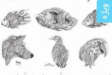 دانلود وکتور حیوانات – طرح های اسلیمی و تزئینی