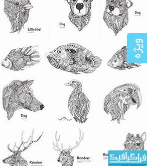 دانلود وکتور حیوانات - طرح های اسلیمی و تزئینی