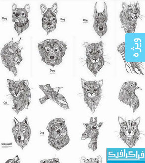 وکتور حیوانات طرح های اسلیمی و تزئینی - شماره 2