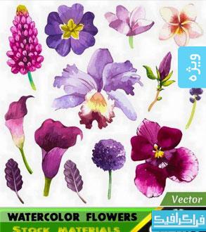 دانلود وکتور های گل و برگ - طرح آبرنگ