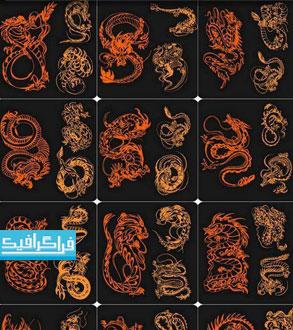 دانلود وکتور خالکوبی های اژدها