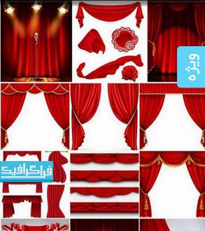 دانلود وکتور های پرده تئاتر قرمز