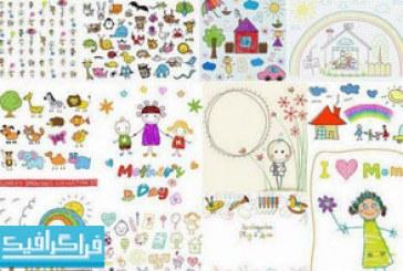 دانلود وکتور نقاشی های بامزه کودکان