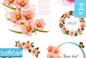دانلود وکتور طرح های گل و پروانه