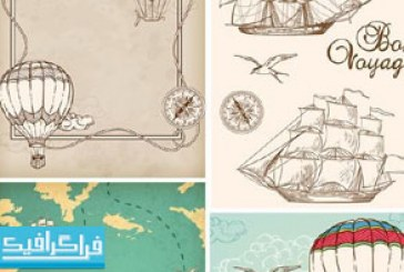 دانلود وکتور طرح های کشتی و بالون