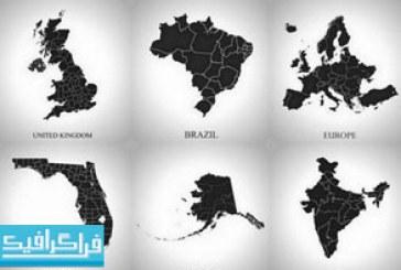 وکتور نقشه کشور های جهان – طرح سایه