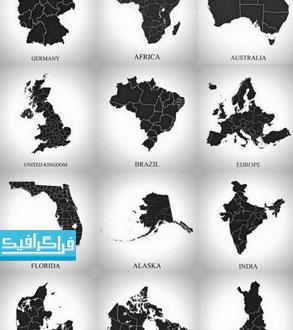 وکتور نقشه کشور های جهان - طرح سایه