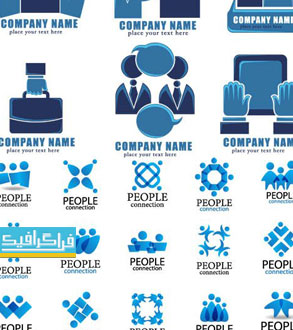 دانلود لوگو های انسان - طرح آبی رنگ