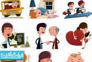 دانلود وکتور های مردم کارتونی – شماره 4