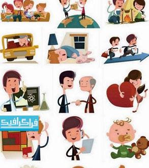 دانلود وکتور های مردم کارتونی - شماره 4