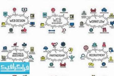 وکتور آیکون های مفهومی طراحی و توسعه وب