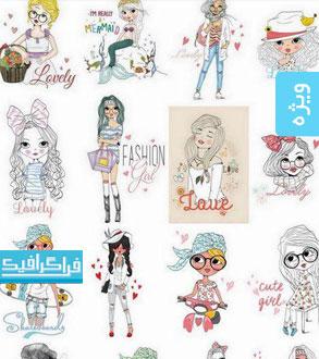 دانلود وکتور دختر های نوجوان فشن - طرح نقاشی