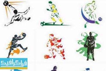 وکتور های بازیکن فوتبال و بسکتبال – طرح سایه رنگارنگ