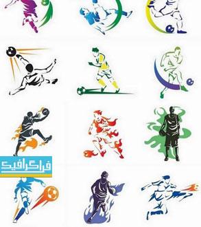 وکتور های بازیکن فوتبال و بسکتبال - طرح سایه رنگارنگ