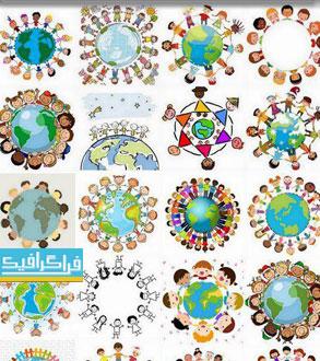 دانلود وکتور های کودکان پیرامون کره زمین