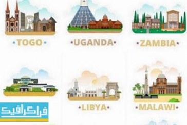 وکتور ساختمان ها و مناطق معروف – قاره آفریقا