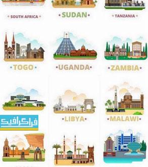 وکتور ساختمان ها و مناطق معروف - قاره آفریقا