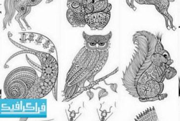 وکتور حیوانات طرح های اسلیمی و تزئینی – شماره 3