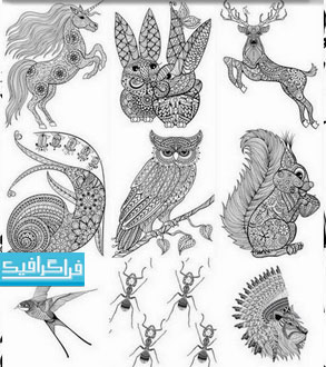 وکتور حیوانات طرح های اسلیمی و تزئینی - شماره 3