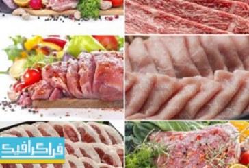 تصاویر استوک گوشت خام با ادویه و سبزیجات