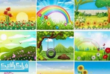 دانلود وکتور محیط های طبیعی فصل بهار