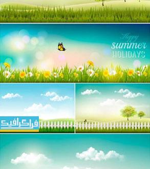 دانلود وکتور بنر های طبیعت و تابستان