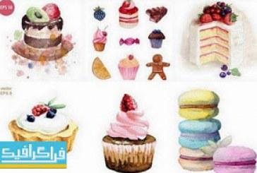 وکتور های شیرینی – کیک – دسر – طرح آبرنگ