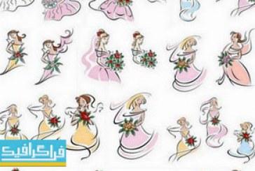 دانلود وکتور های زن در لباس عروس – طرح نقاشی
