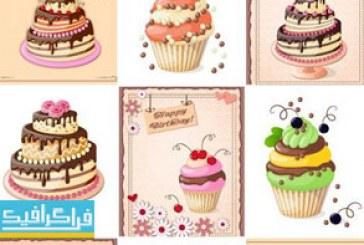 دانلود وکتور کیک های تولد با کارت
