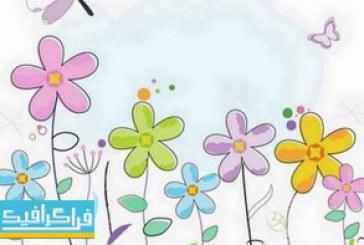 وکتور گل های رنگارنگ – طرح نقاشی اسکچ