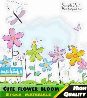 وکتور گل های رنگارنگ - طرح نقاشی اسکچ