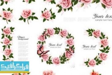 دانلود وکتور طرح های کارت با گل رز صورتی