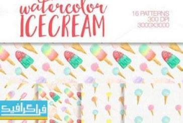 دانلود پترن فتوشاپ طرح های بستنی آبرنگ