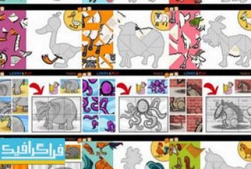 وکتور طرح های پازل حیوانات برای کودکان