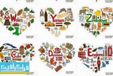 دانلود وکتور نماد کشور های جهان – شکل قلب