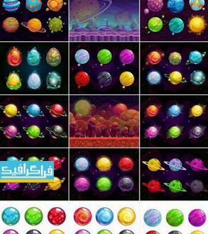 دانلود وکتور سیاره های خیالی کارتونی