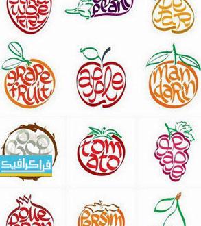 دانلود وکتور های میوه و صیفی جات - طرح انتزاعی