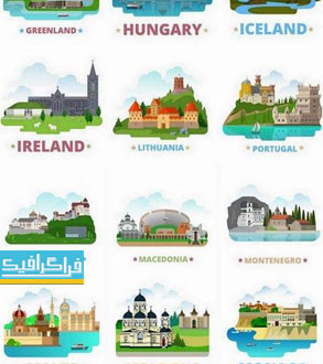 وکتور ساختمان ها و مناطق دیدنی - کشور های شرق اروپا