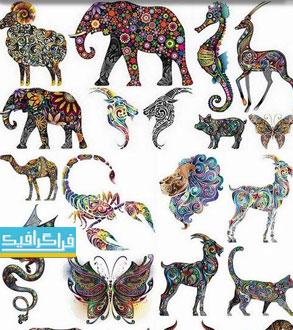 دانلود وکتور حیوانات - طرح تزئینی رنگارنگ