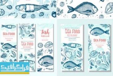 وکتور بنر و منو های غذای دریایی – طرح کلاسیک