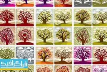 دانلود وکتور های درخت و درختچه – طرح هنری