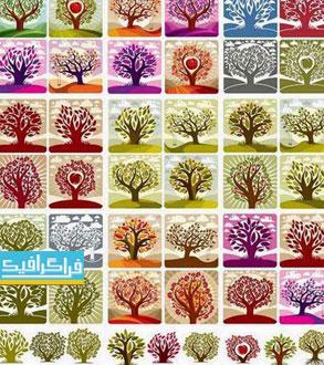 دانلود وکتور های درخت و درختچه - طرح هنری