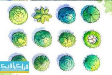 فایل لایه باز عناصر گرافیکی طبیعت – طرح آبرنگ