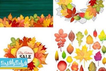 وکتور پس زمینه های پاییز با برگ های رنگارنگ