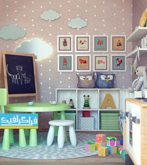 دانلود مدل سه بعدی اتاق و وسایل کودک