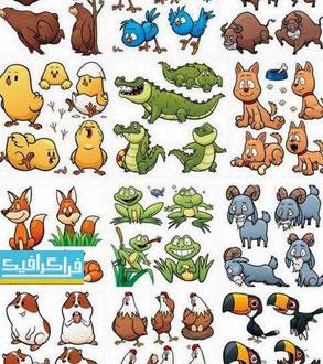 دانلود وکتور حیوانات کارتونی بامزه - شماره 2
