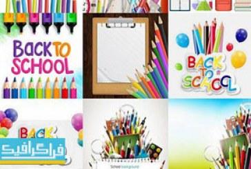 دانلود وکتور طرح های مدرسه و مداد رنگی