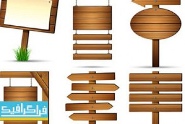 دانلود وکتور تابلو های چوبی – Wood Signs