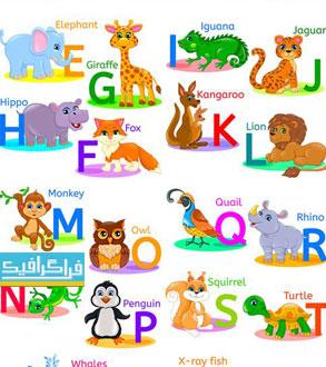 وکتور آموزش حروف انگلیسی برای کودکان - حیوانات