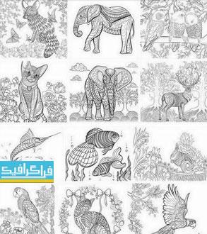دانلود وکتور تصاویر حیوانات برای رنگ آمیزی